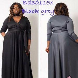 Black/Grey Belted Long Maxi Plus Size Dress